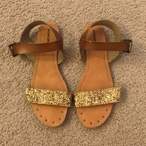 Mossimo Supply Co Gold and Brown Sandals